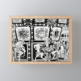 Carousel in Black & White Framed Mini Art Print