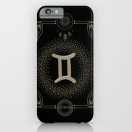Golden zodiac germini sign iPhone Case
