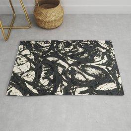 A black and white Jackson Pollock style art digitally vectorised Rug