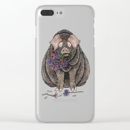 Pig with Flowers Clear iPhone Case