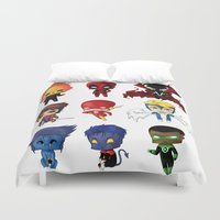 spawn Duvet Covers featuring Chibi Heroes Set 2 by artwaste