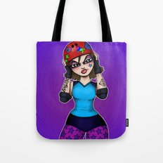 RonkyTonk Roller Derby Skater with Helmet Tote Bag