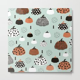 Inky Texture Pumpkins halloween illustration pattern design mint orange Metal Print