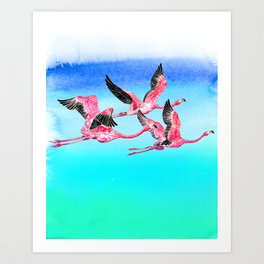 Flamingo_Fly Art Print