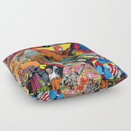 Comic Book Collage Floor Pillow