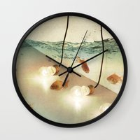 andreas preis Wall Clocks featuring ideas and goldfish by Vin Zzep