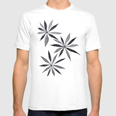 Elegant Thin Flowers With Dots And Swirls Mens Fitted Tee SMALL White
