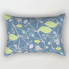 Pattern of blue flowers and green leaves Rectangular Pillow