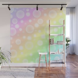 Pastel Rainbow Gradient With Bubbles! Wall Mural
