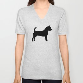 Chihuahua silhouette black and white pet art dog pattern minimal chihuahuas Unisex V-Neck