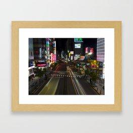 The Bright Night Lights of Tokyo. Framed Art Print