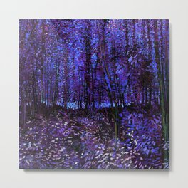Van Gogh Trees & Underwood Purple Blue Metal Print