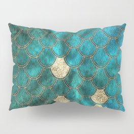 Multicolor Aqua And Gold Mermaid Scales -  Beautiful Abstract Pattern Pillow Sham