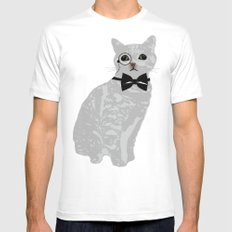Wise cat with bow and tie MEDIUM Mens Fitted Tee White