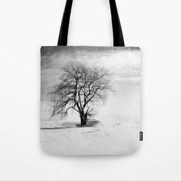 Black and White Tree in Winter Tote Bag