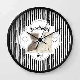 Unconditional Love Cat and Dog as Family Members Stripes Wall Clock