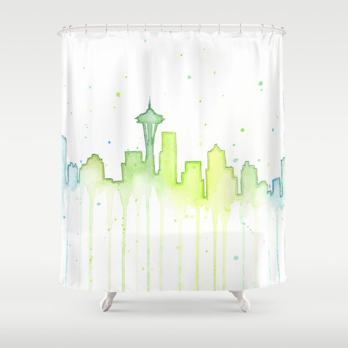 Seattle Skyline Watercolor Space Needle Painting Shower Curtain By Olechka