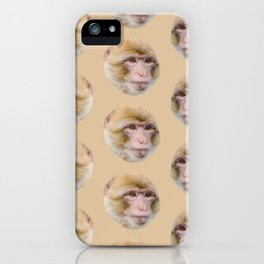 funny cute japanese macaque monkey pattern iPhone Case