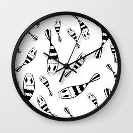 Doodle art koi fish black and white  Wall Clock