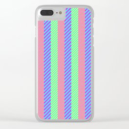 Modern abstract pink teal yellow stripes pattern Clear iPhone Case