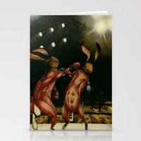 boxing Stationery Cards featuring Boxing Rabbits by Erin Mulligan