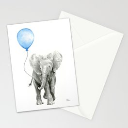 Baby Animal Elephant Watercolor Blue Balloon Baby Boy Nursery Room Decor Stationery Cards