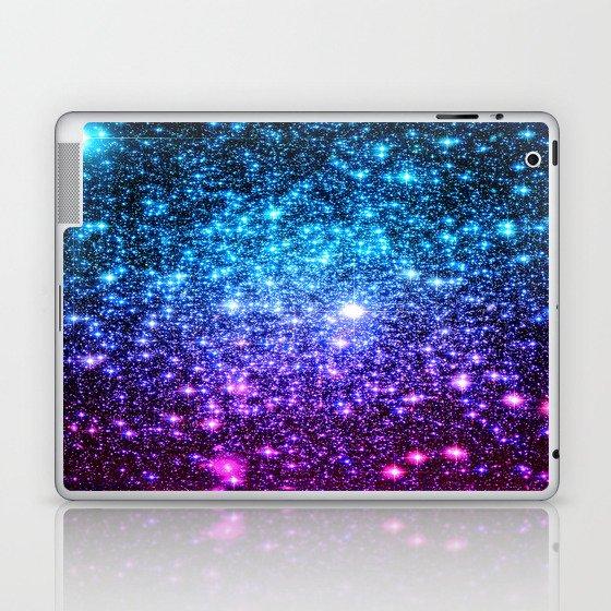 Glitter Galaxy Stars : Turquoise Blue Purple Hot Pink Ombre Laptop & iPad Skin
