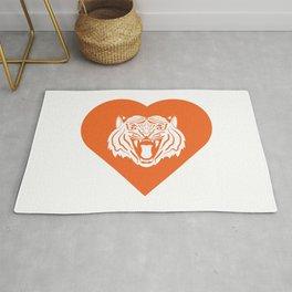 Tiger Mascot Cares Orange Rug