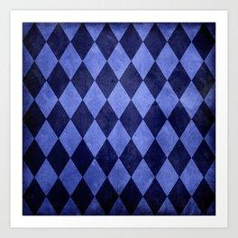 Blue Harlequin Grunge Art Print