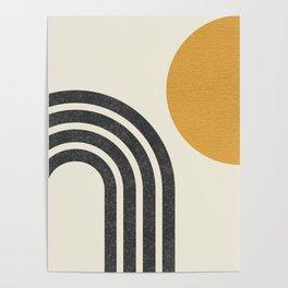 Mid century modern Sun & Rainbow Poster