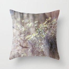 Mossy Dogwoods Throw Pillow