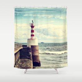 Amble Pier Lighthouse Shower Curtain
