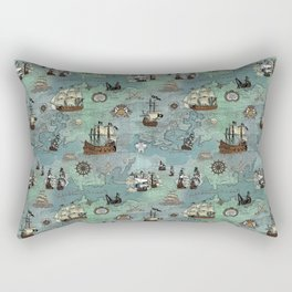 Pirate Ships Nautical Map Rectangular Pillow