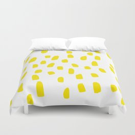 Lemon Yellow Brushstrokes Duvet Cover