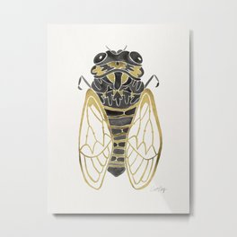 Cicada – Black & Gold Metal Print