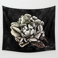 peony Wall Tapestries featuring PEONY  by pike design