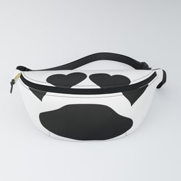 Black Love Hearts Doggie Paw Fanny Pack
