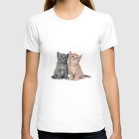 kittens T-shirts featuring Geometric Kittens by lauramaahs
