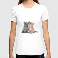 kittens T-shirts featuring Geometric Kittens by lauramaahs
