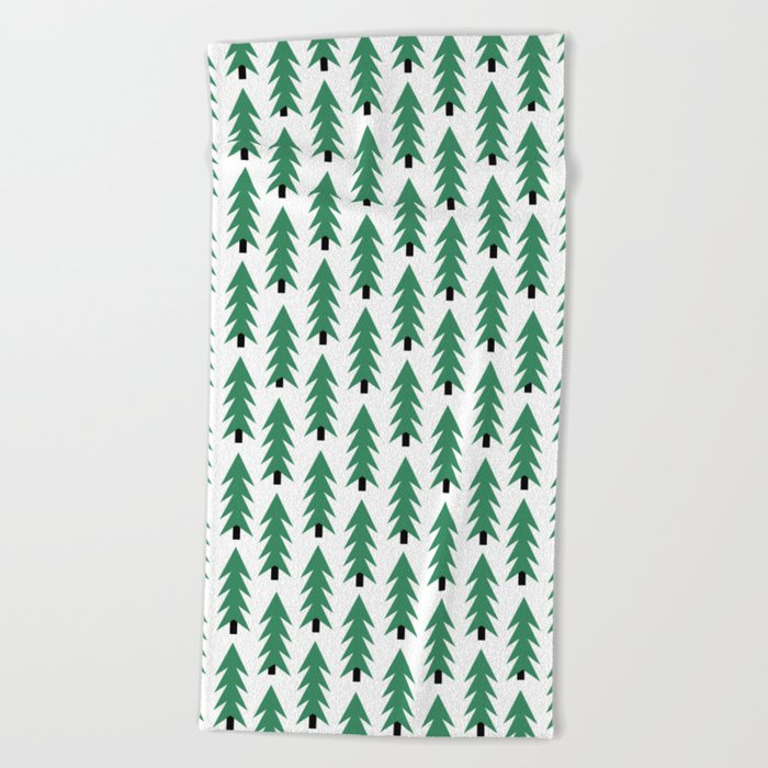 Christmas Tree forest holiday minimal decor festive winter trees green and white Beach Towel