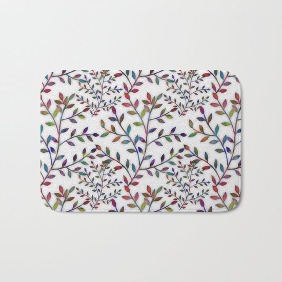Small, Colorful Leaves  Bath Mat