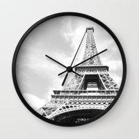 eiffel Wall Clocks featuring Eiffel by Fallon Chase