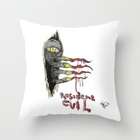 resident evil Throw Pillows featuring Resident Evil Pop Art Tribute by DCon