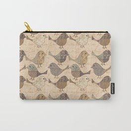 Nostalgic Autumn Patchwork Bird Pattern in warm retro colors #autumndecoration Carry-All Pouch