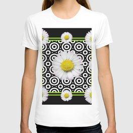 Modern Deco Style Shasta Daisies Black Art T-shirt