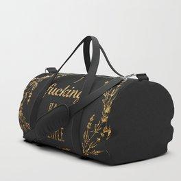 Gold I fucking hate people Duffle Bag