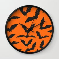 bats Wall Clocks featuring Bats by Sara Eshak