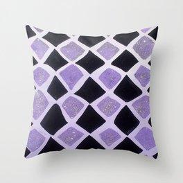 Purple and Black Diamonds Throw Pillow