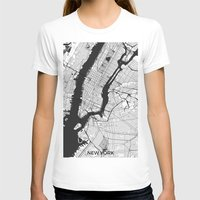 new york map T-shirts featuring New York Map Gray by City Art Posters