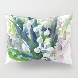 Lilies of the Valley, spring floral design flowers sring design wood flowers Pillow Sham